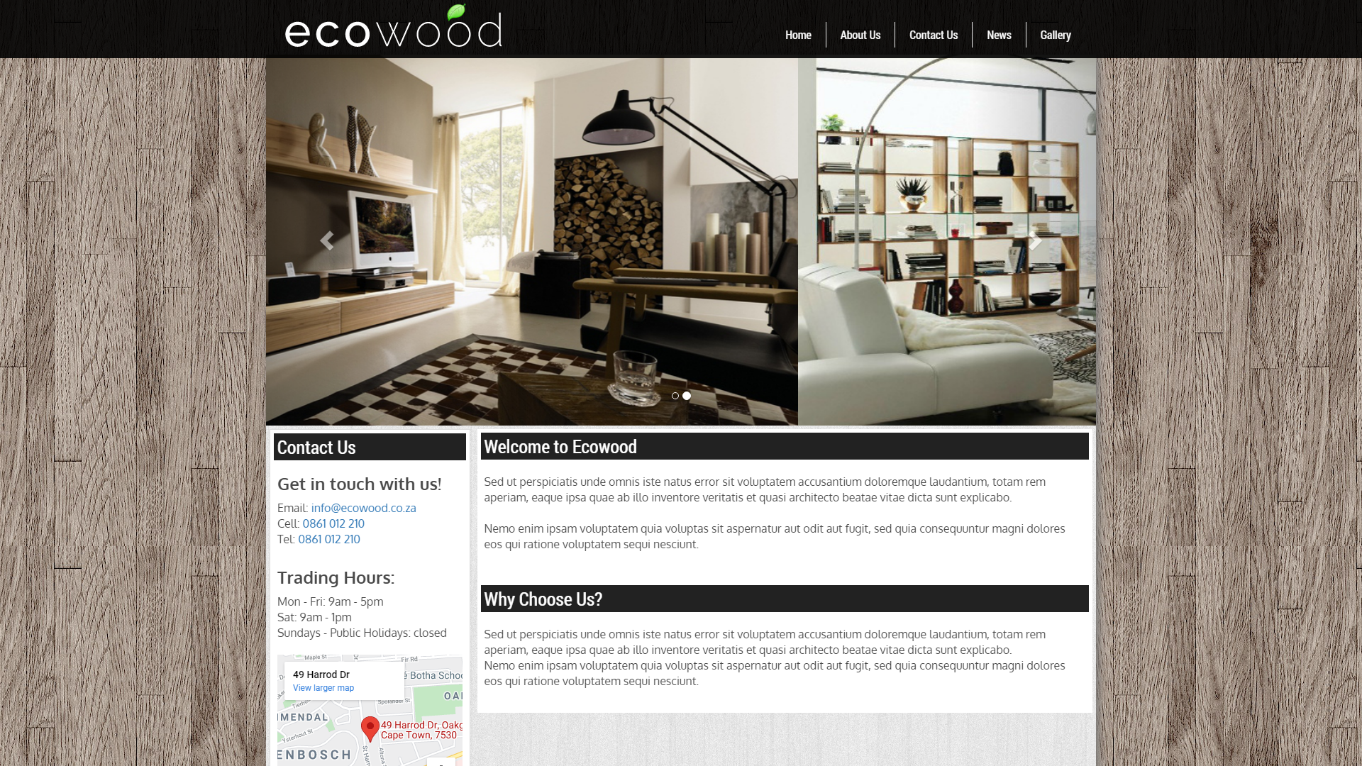 Ecowood, eSolve Showcase Website Template