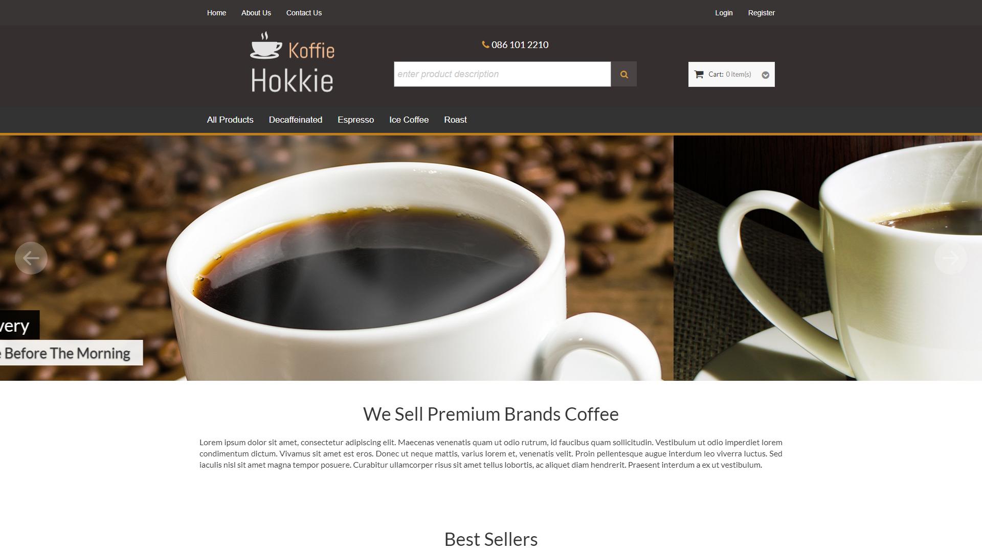 Koffie Hokkie, eSolve eCommerce Template