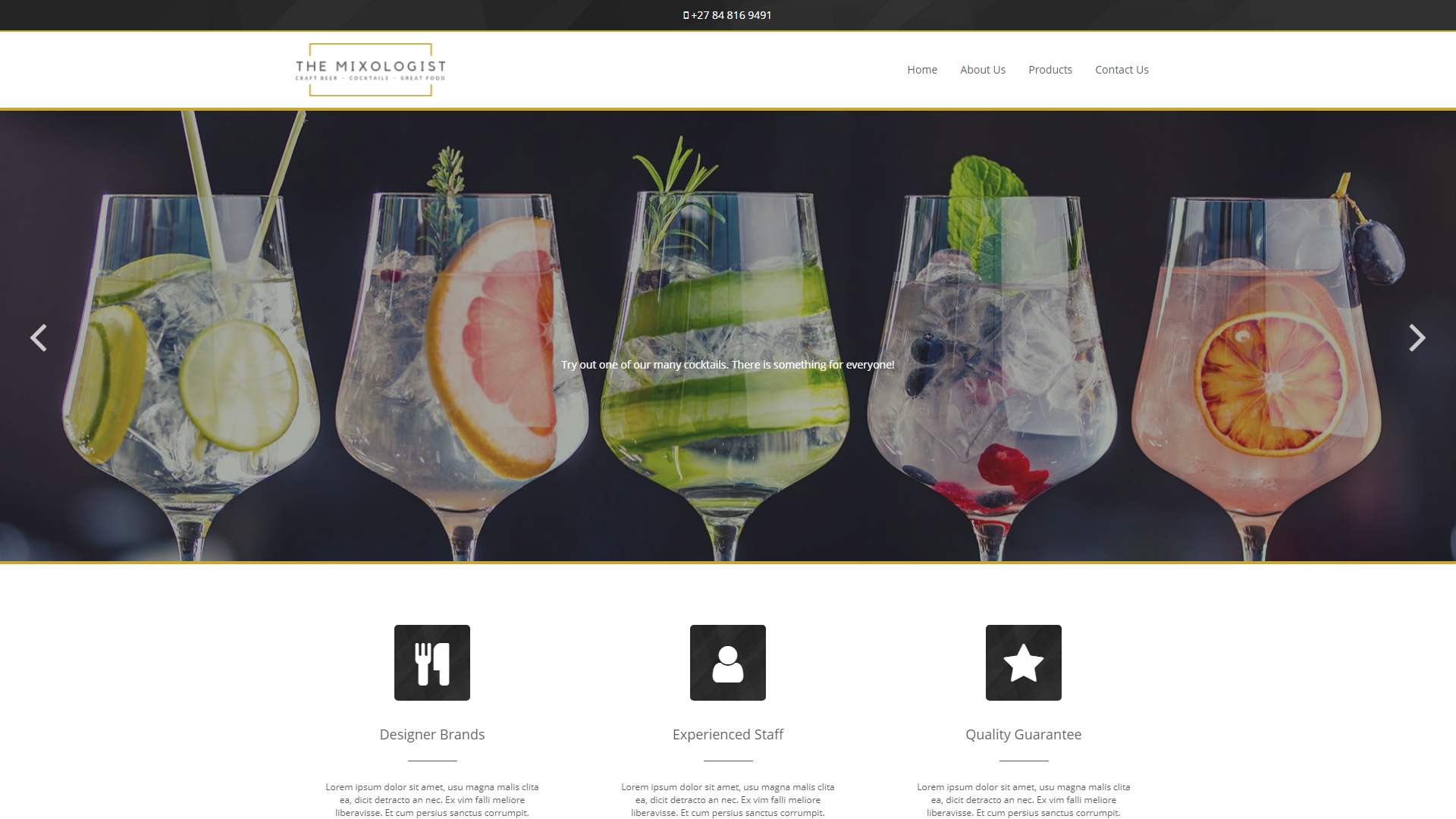The Mixologist, eSolve eCommerce Template